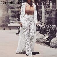 Glamaker White lace floral 3 set sexy jumpsuit Women strapless sash long playsuit Party winter outwear jumpsuit romper plus size
