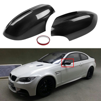 1Pair Real Carbon Fiber Add on Side Mirror Cover Caps Exterior Accessories for BMW E92 E93 M3 2Door Model
