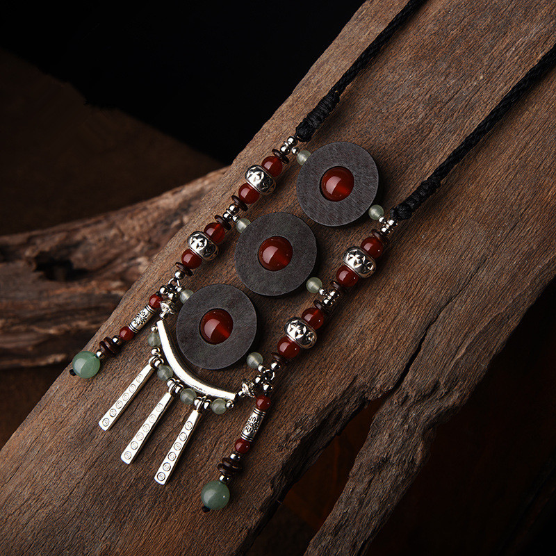 ethnic bohemian necklace 2018 fashion hot sell red stone beaded wood miao silver DIY pendants accessories long rope chain XL212