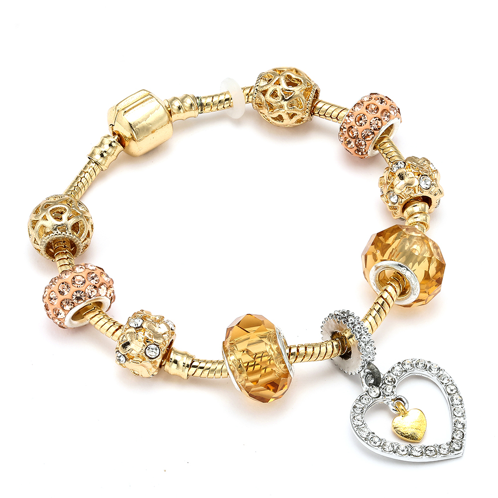 Heart Love Dangle Charm Bracelet For Women Gold Crystal