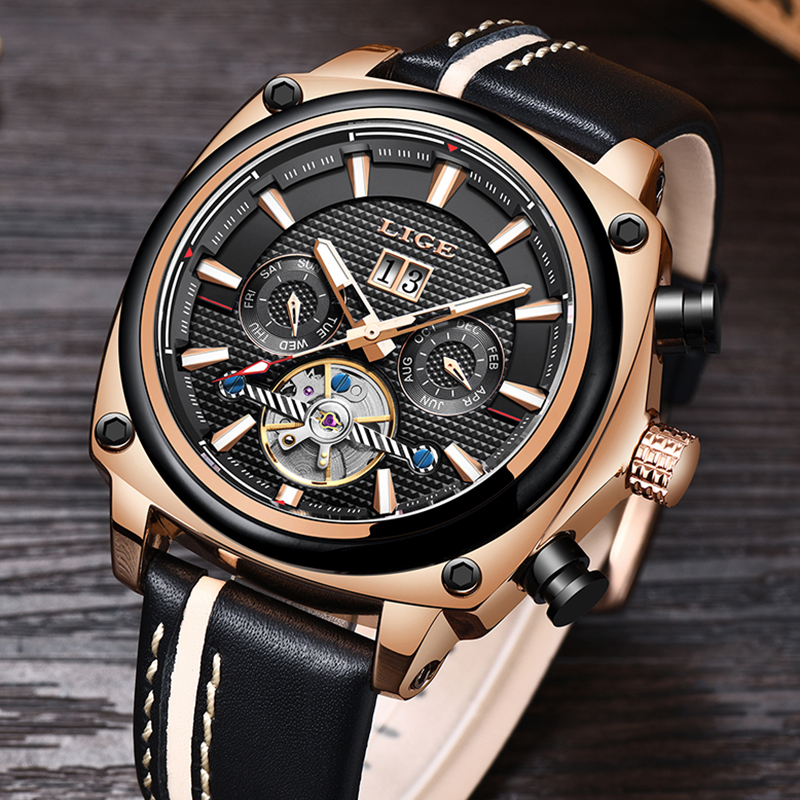 LIGE Top Brand Luxury Men Watches Automatic Mechanical Watch Tourbillon Clock Leather Casual Business Wristwatch Relojes HombreLIGE Top Brand Luxury Men Watches Automatic Mechanical Watch Tourbillon Clock Leather Casual Business Wristwatch Relojes Hombre