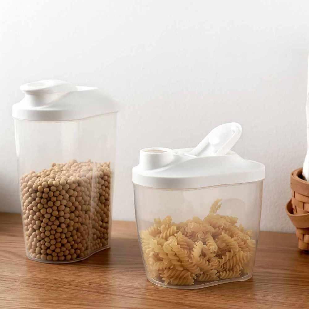 Dispensador autom/ático de cereales de pl/ástico 6 en 1 junta de dep/ósito de alimentos secos caja de almacenamiento de pared