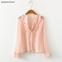 Japanese Preppy Style Kawaii Lace Patchwork Frilly Lace-up Summer Cardigan Women Tops Ruffle Chiffon Blouse blusas mujer
