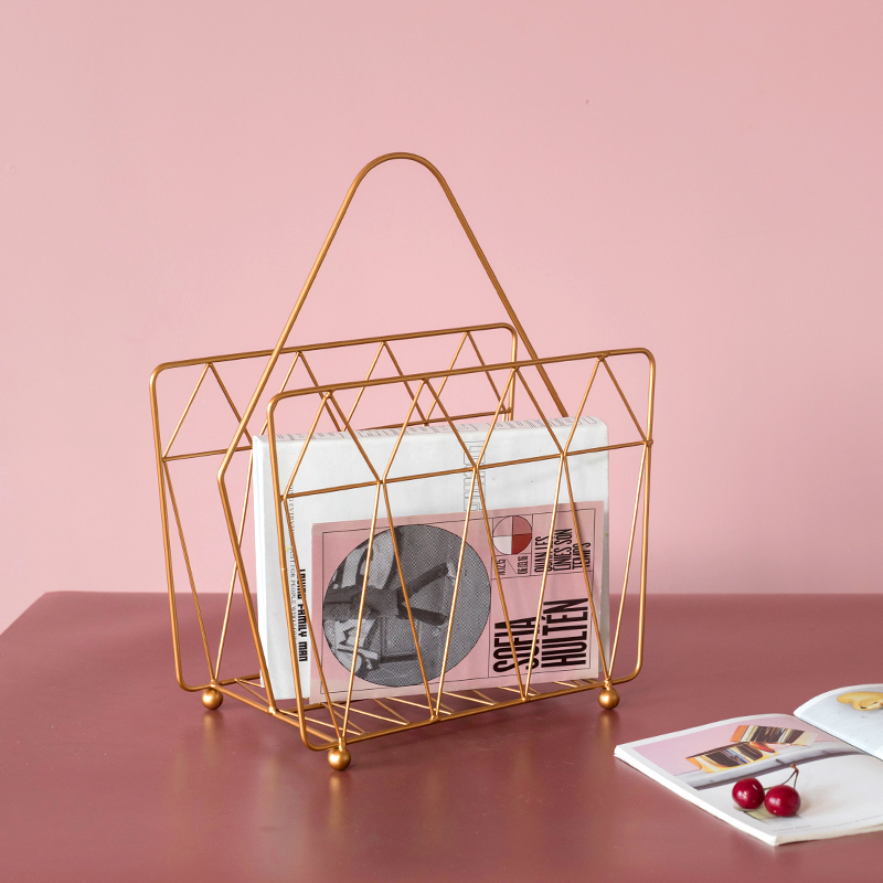Decorative Metal Farmhouse Magazine Holder And Organizer Bin - Standing Rack For Magazines, Books, Newspapers, Tablets In Office