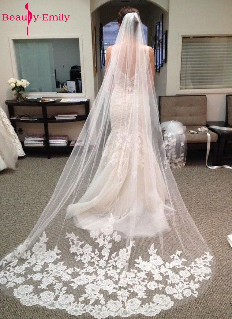 Wedding Accessories 2019 Appliques Tulle Long Cathedral Wedding Veil Lace Edge Bridal Veil With Comb Veu De Noiva Longo