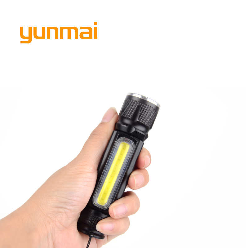 USB 5000lm Flashlight with Magnet Cob+NEW XM-L T6 Handy LED Flashlight Rechargeable Torch Flash Light Pocket LED Zoom Lamp