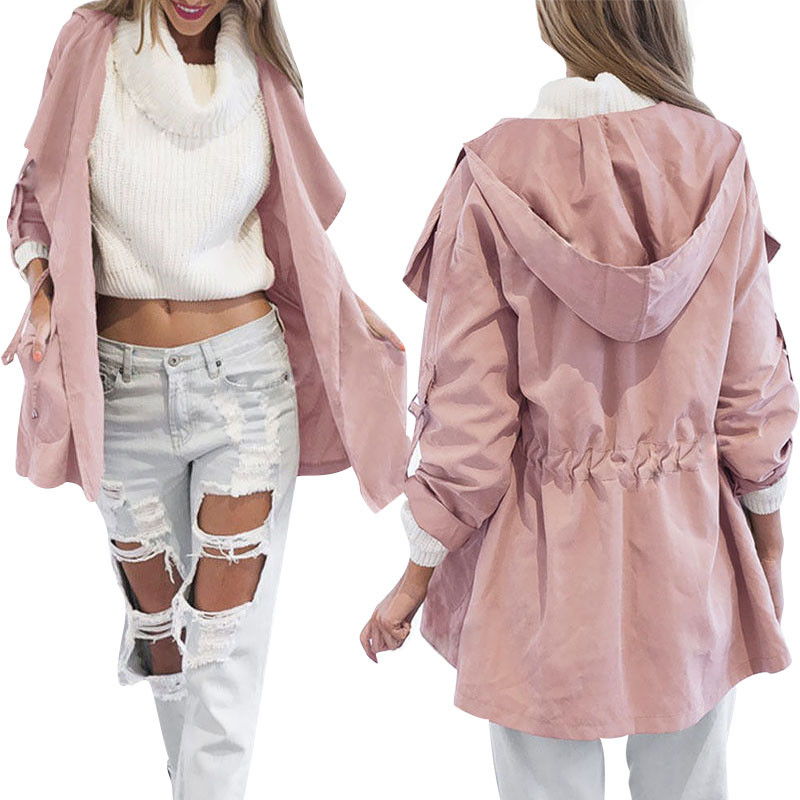 Autumn Women's Casual Hooded Windbreaker Coat Turndown Collar Overcoat Outerwear Coat Solid Color   Trench   Belt Slim Tops Coat
