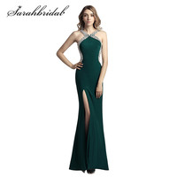 Sexy Backless Evening Dresses Charming Thigh High Slits Mermaid V neck Beaded Collar Deep Green In Stock Prom Party Gowns CC451