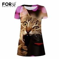 FORUDESIGNS Cute 3D Cat Women Dress Party Dresses Animal Prints Woman Summer Dress Vestidos Mujer For