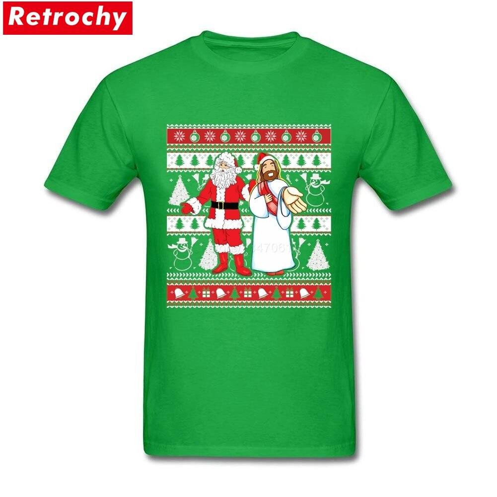 Short Sleeve Thanksgiving Day Custom Santa and Jesus Ugly Christmas ...