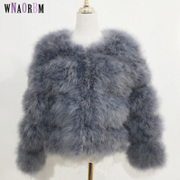 newowlbie Sexy ostrich hair turkey leather fur coat plus leather women's jacket genuine down short jacket retail / wholesale