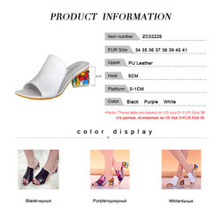 KemeKiss 2019 Brand Large Sizes 34-41 Colorful Rhinestone Crystals Heels Peep Toe Summer Women'S Shoes Woman Sandals Slippers 6