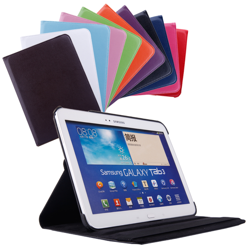 360 Degrees Rotating Stand PU Leather Flip Case For Samsung Galaxy Tab 3 P5200 P5220 P5210 10.1 inch tablet Unique Stained case 360° rotary protective pu flip open case w stand for 12 2 samsung galaxy note pro p900 black