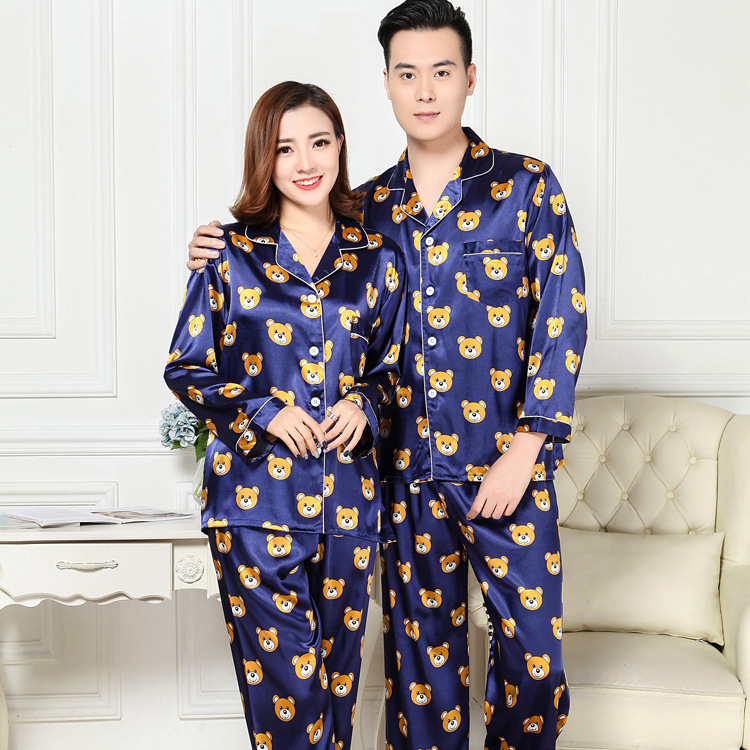 Couple Pajamas Luxurious Women Sleep Pajama Set 2018 Brand Sale Lovers Pajama Suit Home Clothing Long Pants Sleeved Pants XY009