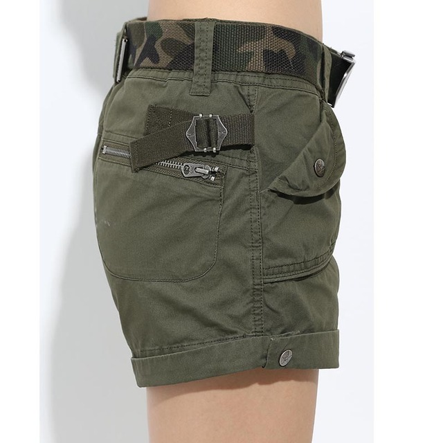 Brand Laides Shorts Women Casual Shorts Loose Pockets Zipper Military Army Green Large Size Summer Women Shorts Outdoors No Belt 4