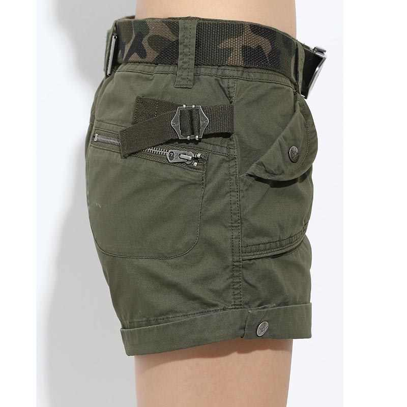 6ac24d7f167f ... Brand Laides Shorts Women Casual Shorts Loose Pockets Zipper Military  Army Green Large Size Summer Women ...