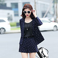 New Style Dotted Pant Suits 2016 Hot Sale Women Autumn Cotton Fashion Workwear Casual Full Sleeve Blazer With Shorts 2 Piece Set