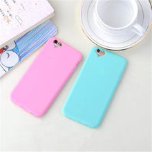 Fundas de teléfono de silicona TPU de colores dulces de moda para iphone 6 S funda Coque 5 5S SE 7 Plus funda celular para iphone 6(China)
