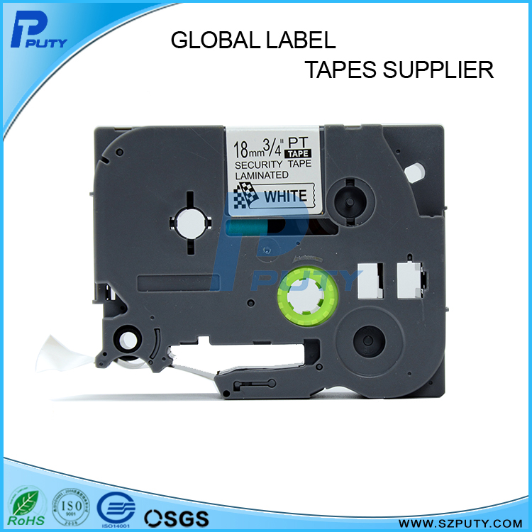 1PCS Label Tape Tze-SE4 TZ SE4 For Brother P-touch 18mm*8M Black On White Tze Tapes Laminated Security Printer Ribbon