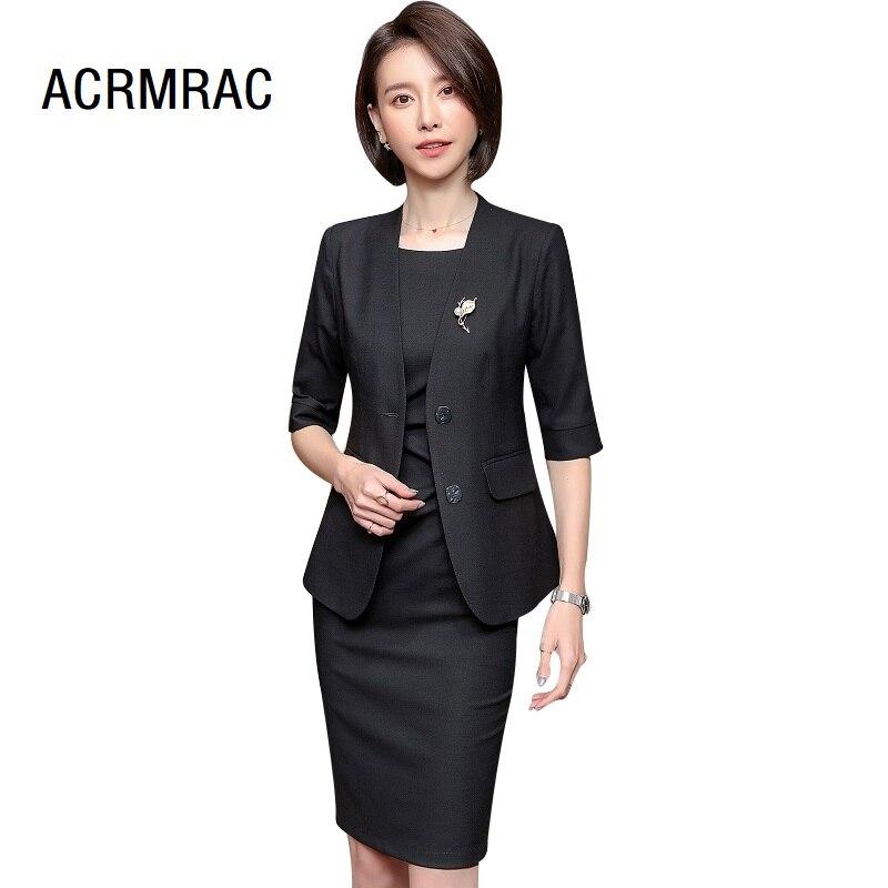 100% Wahr Frauen Anzüge Schlank Sommer Halb Hülse Jacke Kleid Ol Formale Business Frauen Kleider Anzüge Frau Set Anzüge 6908