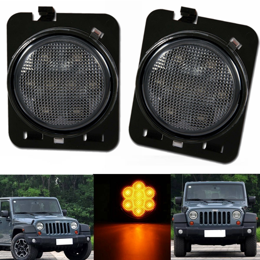 2 Pcs LED Side Maker Lights Front Fender Flares Parking Turn Lamp for 2007-2016 Jeep Wrangler Smoke Lens Amber Color 4pcs black led front fender flares turn signal light car led side marker lamp for jeep wrangler jk 2007 2015 amber accessories