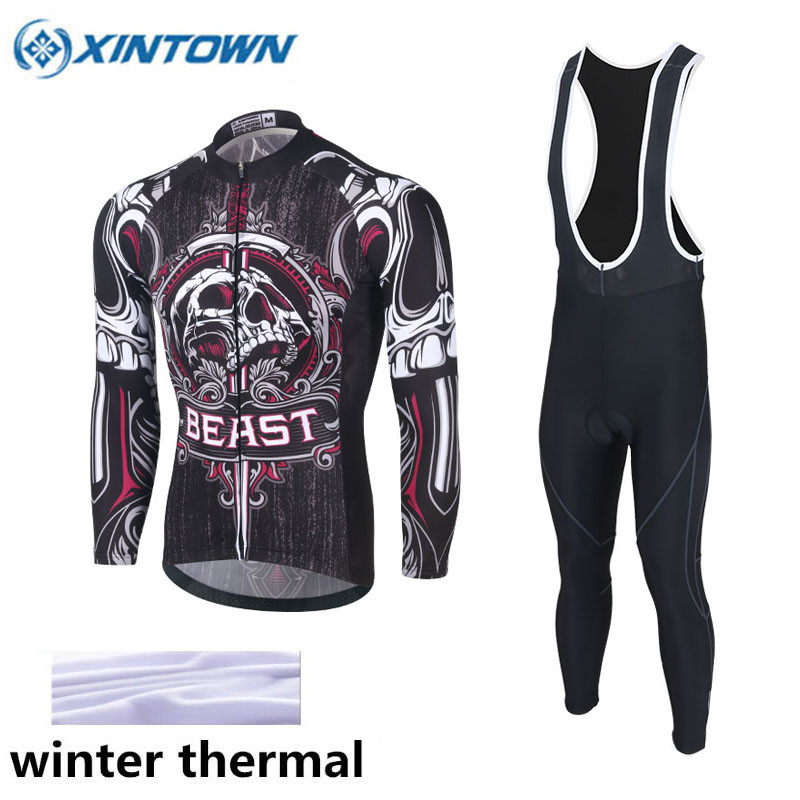 цены XINTOWN Cycling Jersey Set Winter Thermal Fleece Long Sleeves Bicycle Jerseys Ropa Maillot Ciclismo MTB Bike Cycling Clothing