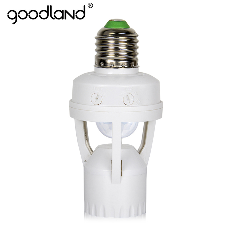 Goodland E27 Socket 60W E27 LED Lamp Holder With PIR Motion Sensor 110V 220V Infrared Induction E27 Lampholder For Light Bulb