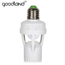 Goodland e27 lâmpada led e27, 60w, suporte para lâmpada com sensor de movimento pir, 110v, 220v, infravermelho, indução e27 lâmpada de lâmpada