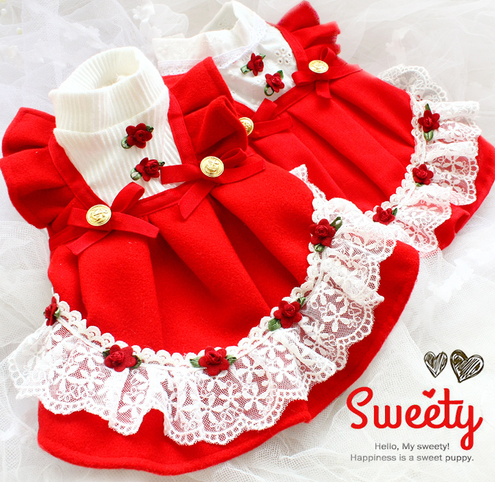 Free shipping handmade luxurious dog dress clothes red rose woolen and linens lace moppet skirt for