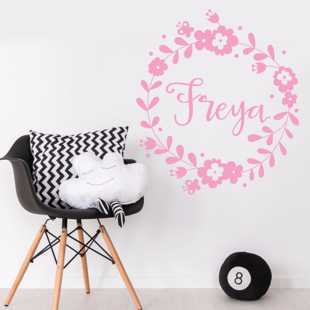 Wall Sticker Removable Personalized Girl Name Vinyl Wall Decal Children Girl Name Wall Art Mural Flower Design Home Deocr AY538 in Wall Stickers from Home Garden