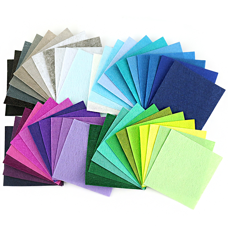 Mix 88 Colors Non Woven Felt Fabric DIY Polyester Cloth Felts With Thread DIY Bundle For Sewing Crafts 1mm Thickness 10*10CM 6