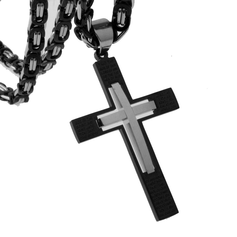 Silver Black Tone Cross Jesus Stainless Steel Pendant Necklace Hip Hop Cuban within Byzantine Link Crucifix Necklace 18 36 quot in Chain Necklaces from Jewelry amp Accessories