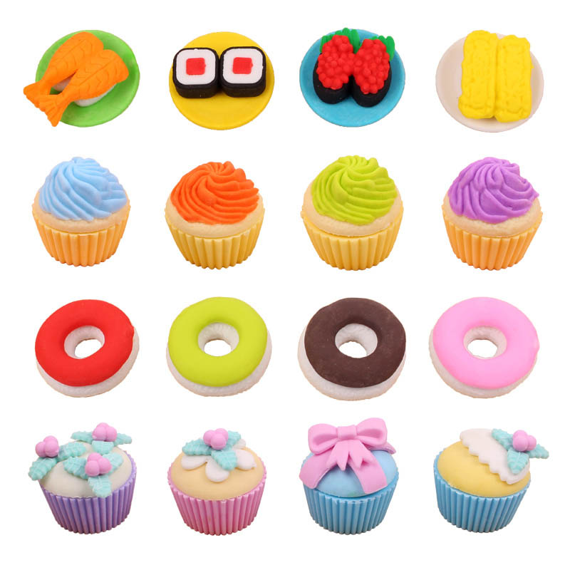 Image 5 - Free ship!1lot=12set!Sweet delicacy cake food rubber eraser / exquisite PVC small box  packing erasers set/ children gift-in Eraser from Office & School Supplies
