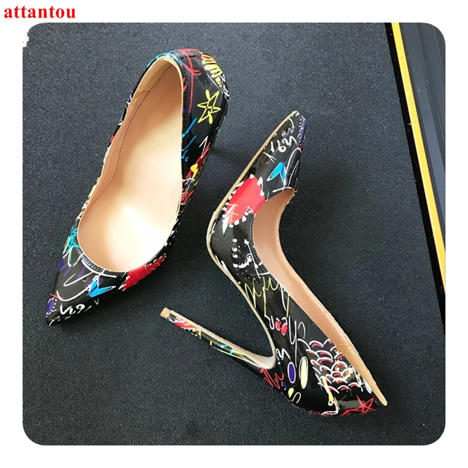 Sexy pumps red black printed women high heels plus Size 43 44 slip-on pointed toe female dress shoes stiletto single shoes plus size christmas candy printed dress