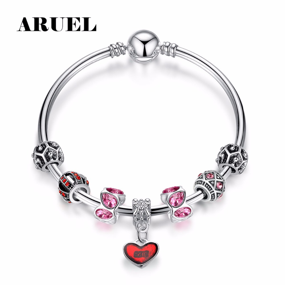 ARUEL Fashion Red Heart Pendant Crystal Beads Charm Bracelets & Bangles For Women Cubic Zircon DIL Jewelry Femme Bijoux Pulseras