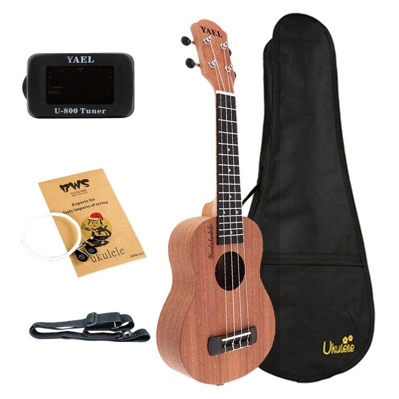 Yael-Kit de ukelele de concierto de 23 pulgadas, madera de sapo 18, Fret Hawaii, guitarra de cuatro cuerdas con bolsa, sintonizador, correa de Capo, picaduras, música
