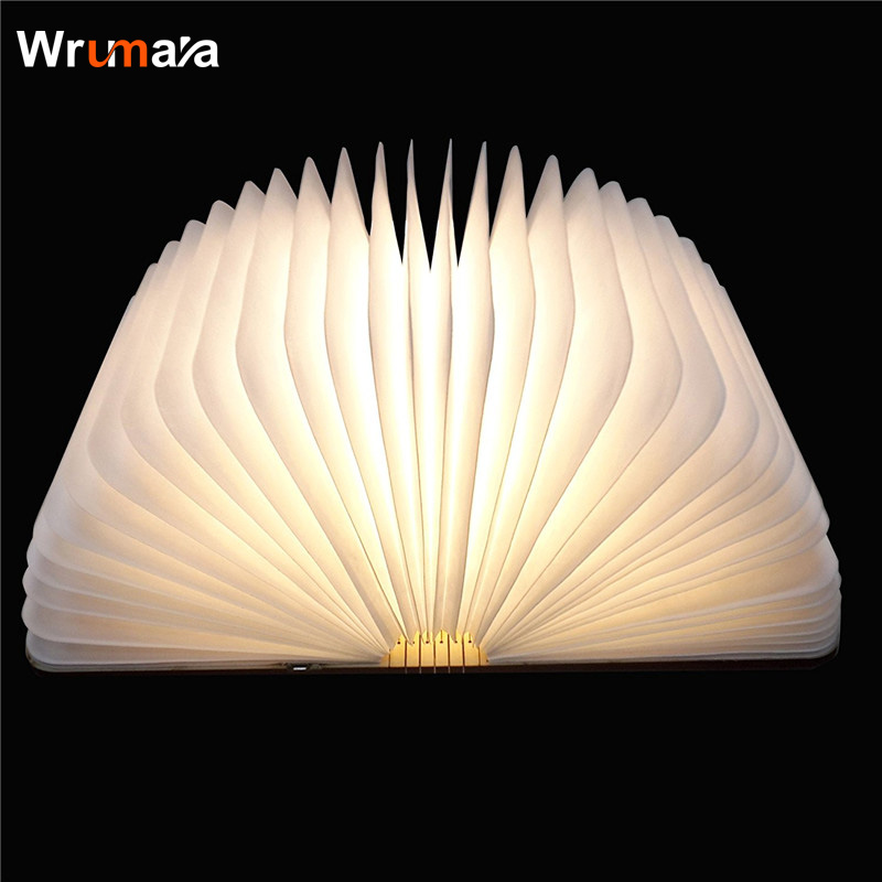 Wrumava 3D LED Night Light Folding Book Light USB Port Rechargeable Wooden Magnet Cover Home Table Desk Ceiling Decor Lamp led night light folding pages book light creative usb port rechargeable desk lamp wooden magnet cover home table light lamp