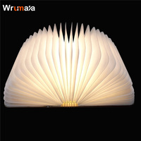 Wrumava 3D LED Night Light Folding Book Light USB Port Rechargeable Wooden Magnet Cover Home Table