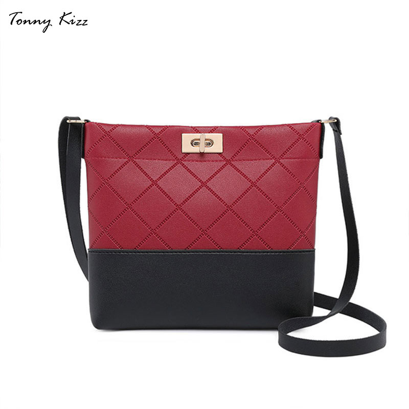 Diamond Lattice Crossbody Bags For Women Vintage Shoulder Bags Female Fashion Leather Messenger Bags Patchwork Large Capacity