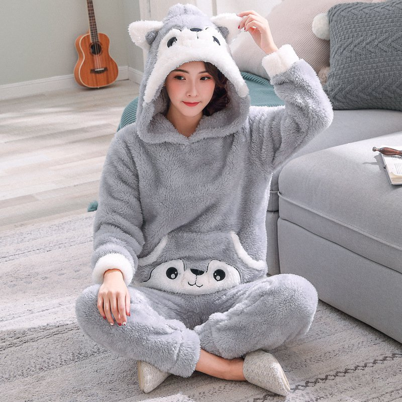 JINUO New Arrival 9 Styles Cute Cartoon Women Winter Plush Pajama Sets Young Ladies Warm Lovely Soft Home Wear Sleepwear