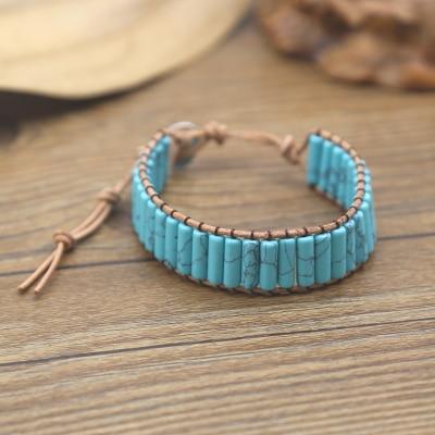 Turquoise Stone Leather Wrap Bead Unisex Bracelets