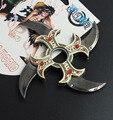 One Piece Hawkeye dobrar rotativa espada na mão, dardos de rotação do rolamento, cos adereços, Anime arma modelo brinquedos, faca de brinquedo