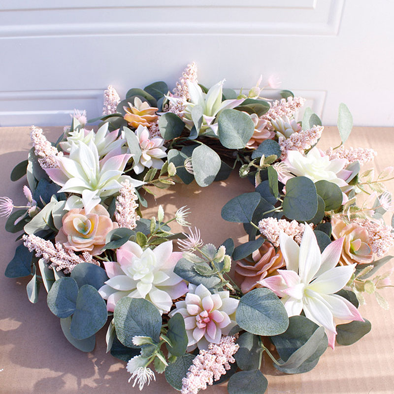 Garden Artificial Wreath Door Trim Ornament Hanging Succulent Fake Flower Garland for Home Christmas Wedding Decoration Floral