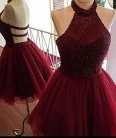 Бордовый Тюль Блеск Короткие высокопрочный Стеклопластик шеи мини платья для возвращения на родину с Бисер сладкий 16 платье вечерние плать