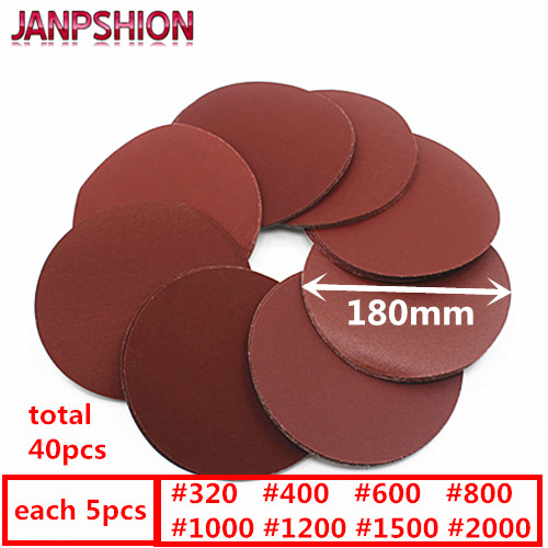 "JANPSHION 40pc 7 ""180mm brusný papír Brushed back for Sander red round Broušený papír Grits 320/400/600/800/1000/1200/1500/2000"