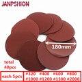 Jancshion 40 pc 7 180mm papel de lija cepillado para lijadora rojo redondo lijadora de papel 320/400 /600/800/1000/1200/1500/2000
