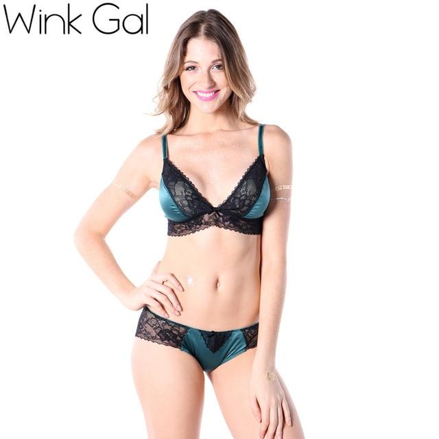 Wink Gal  наборКружевних бюстгальтеров и нижнегобелья с зелёным узором розы для молодой девушки