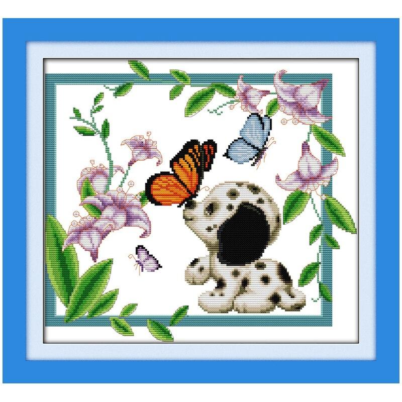 ̿̿̿(•̪ )Cachorro y mariposa romántica patrones contados puntada de ...