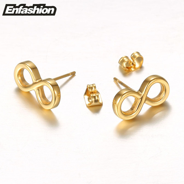 Enfashion Infinity Earrings Rose Gold Color Earings Stainless Steel Earring Stud For Women Jewelry Orni