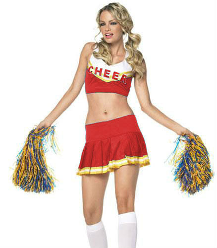 FREE SHIPPING 8136 Varsity Cheerleader Costume Cheer Leader Outfit w/ Pom Poms